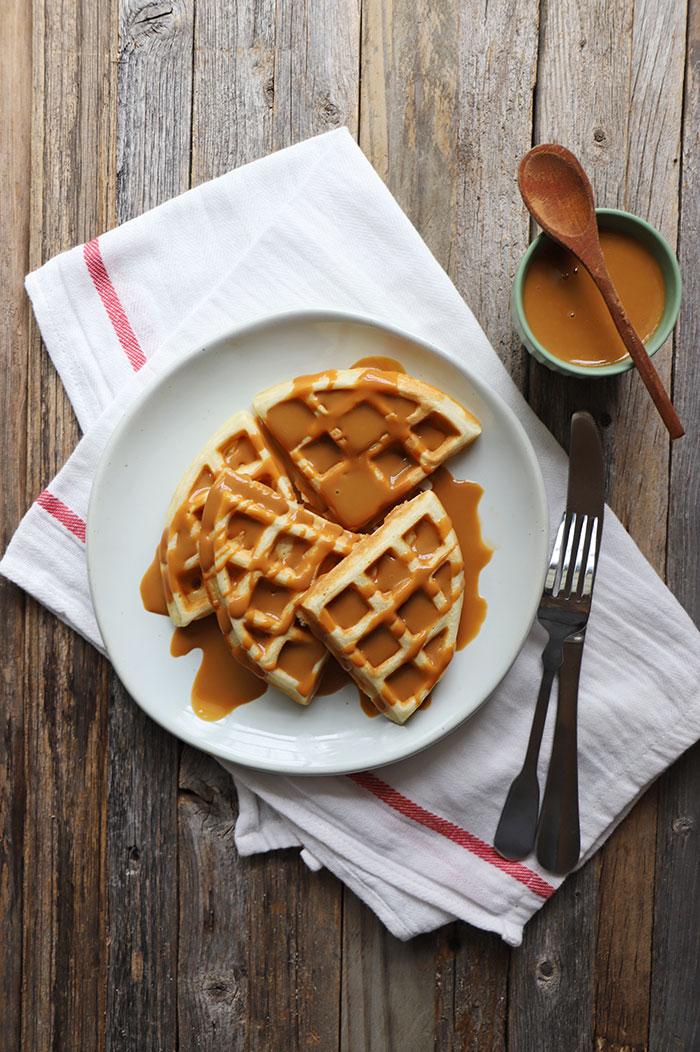 Waffles con manjar